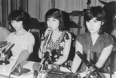 Candies in 1977 (from left): Fujimura Miki, Itou Ran, and Tanaka Yoshiko