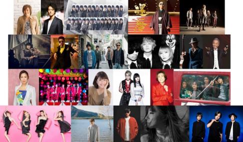 Arashi, Kanjani8, KAT-TUN, Keyakizaka46, LiSA, MISIA, Miura Daichi, NEWS, SEKAI NO OWARI, Spitz, V6